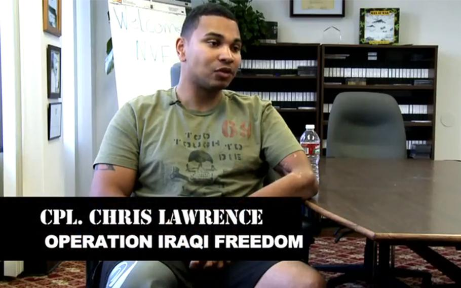 Cpl. Chris Lawrence is seen in an image from the trailer for the documentary 'Operation Resurrection.'
