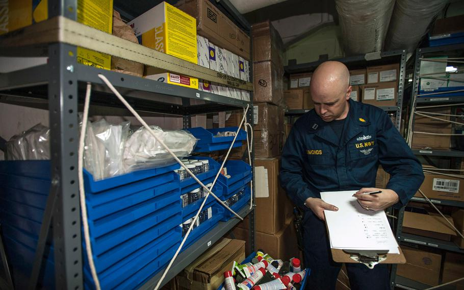 Lt. Wayne Simonds, medical administration officer aboard USS George Washington, inventories available medical supplies in the ship's medical supply storage room as the aircraft carrier was en route to the Philippines on Nov. 13, 2013.