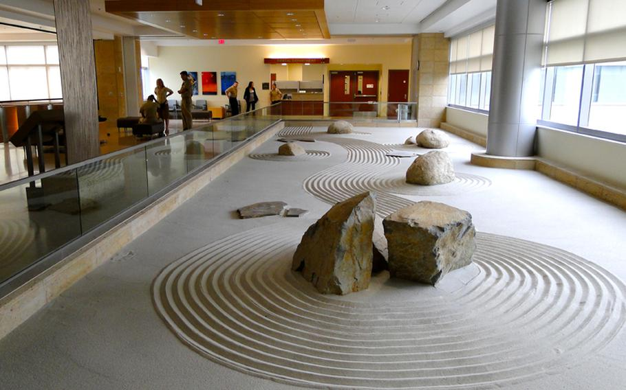 The hospital's Zen garden, on the 4th floor, is one of many design features included in the new Camp Pendleton hospital in an effort to create a calming environment.