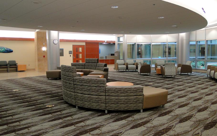 The waiting areas at the new Naval Hospital Camp Pendleton are designed to be spacious and relaxing and look more like a hotel lobby than a military medical facility.