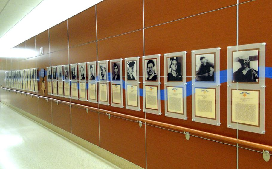 The new Naval Hospital Camp Pendleton features inside and outside displays honoring prisoners of war and 28 Medal of Honor recipients who served in the medical corps.