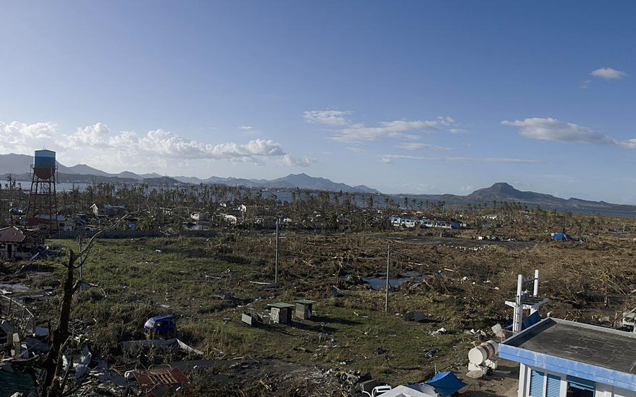 Super Typhoon Haiyan destroyed the area surrounding Tacloban Airport, Tacloban, Philippines, leaving thousands of victims homeless.