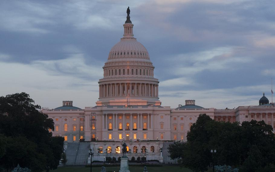 The sun sets on the Capitol Building in Washington, D.C.