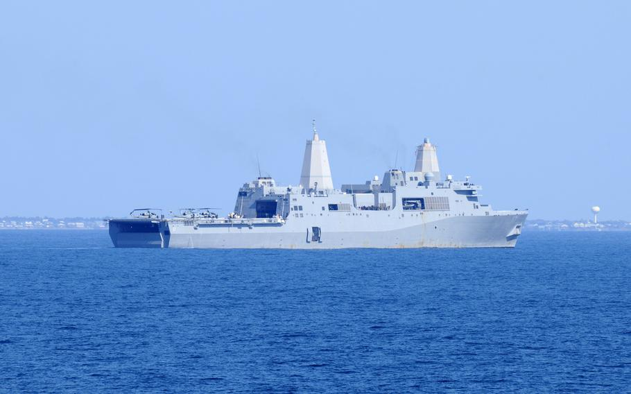 The amphibious transport dock ship USS San Antonio (LPD 17) conducts operations during Bold Alligator 2012 in the Atlantic Ocean Feb. 4, 2012.