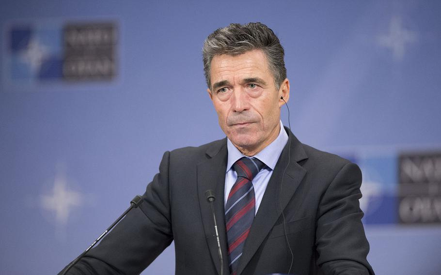 NATO Secretary General Anders Fogh Rasmussen talks to the press following the meeting with the NATO-Russia Council at NATO Headquarters in Brussels, December 4, 2013.