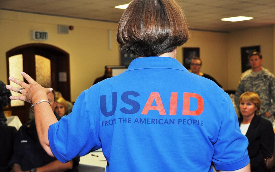 U.S. Africa Command staff in Stuttgart, Germany, receive instruction during a Joint Humanitarian Operations Course taught by USAID's Office of Disaster Assistance on August 21, 2013.