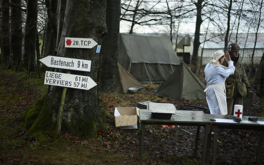 Re-enactors set up camp along the Bastogne Historic Walk route where U.S. forces defended against the German advance in December 1944. While some participants opt to stay in a hotel for the weekend, others decide to brave the frosty winter nights by camping outdoors.