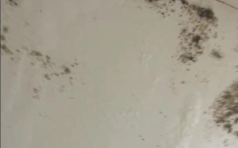 Black mold is seen in the corner of this bathroom at Fort Polk, Louisiana, in this screen shot from a video uploaded to Facebook, illustrating some of the deteriorating conditions at the base.