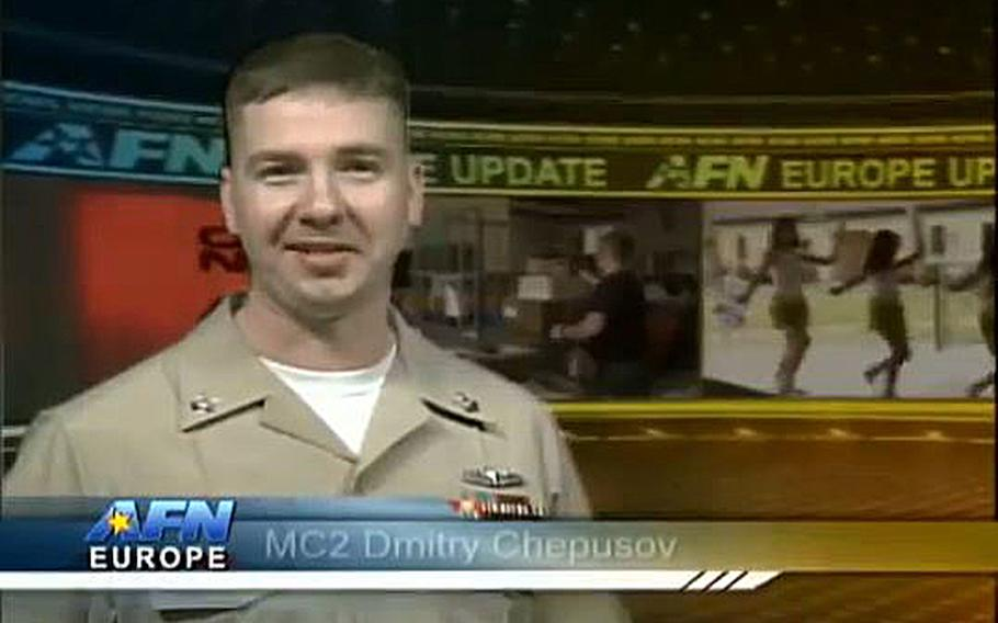 A video screen grab shows Petty Officer 2nd Class Dmitry Chepusov, a Navy broadcaster for the American Forces Network-Europe who was found dead in a vehicle in Kaiserslautern, Germany, on Saturday, Dec. 14, 2013.