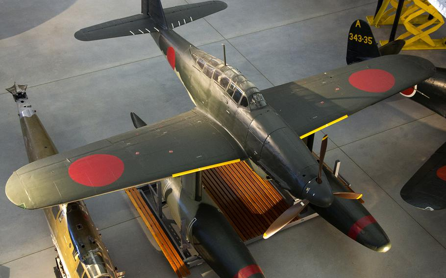 The only surviving M6A1 Seiran torpedo-bomber, on display at the Smithsonian's Udvar-Hazy Center in Virginia. The I-400 reportedly carried three of the aircraft.