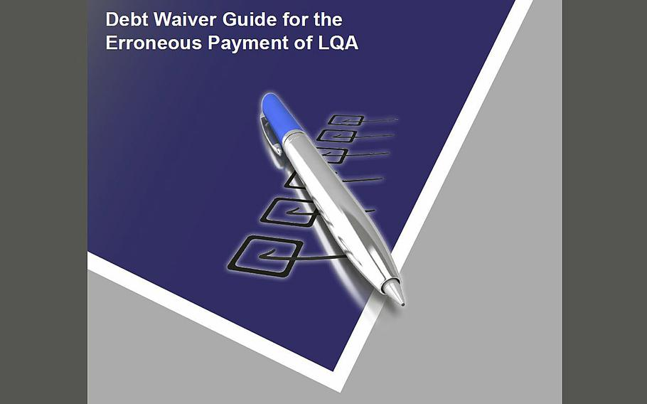 Screen grab from the Defense Finance and Accounting Service website with information on how to request a debt waiver for erroneous payment of LQA.