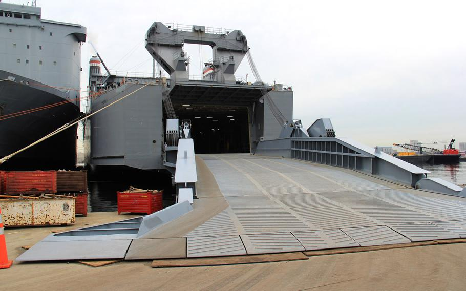 Pictured is the entrance to the Cape Ray docked at the NASSCO-Earl Shipyard in Portsmouth, Va., January 2, 2014.  The Cape Ray is being utilized as a transport vessel for a Field Deployable Hydrolysis System designed to render chemical warfare material into compounds not usable as weapons.