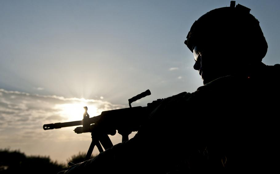 A U.S. soldier at a security post at Forward Operating Base Fenty in the Nangarhar province of Afghanistan, Aug. 22, 2013.