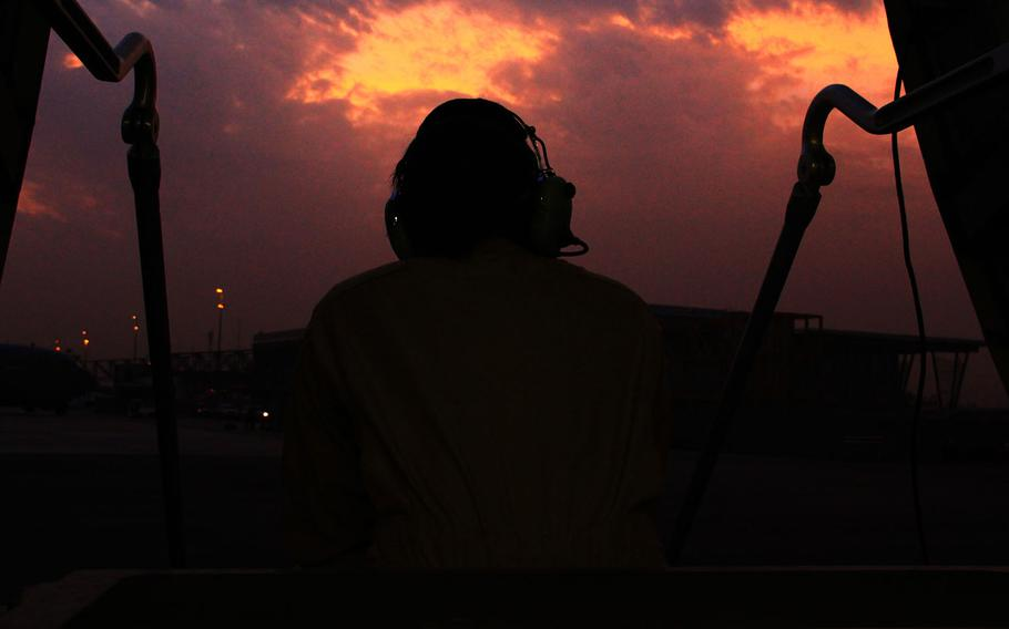 An airman waits for departure from Bamako International Airport after assisting in a C-17 Globemaster flight, Jan. 25, 2013, from Base Aerienne 125, Istres, France to Bamako, Mali.