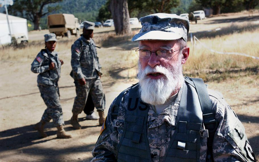 Army Chaplain Col. Jacob Goldstein, a Jewish rabbi, is pictured in uniform with his beard, in accordance with his faith, at Fort Hunter Liggett, Calif., in July 2010.