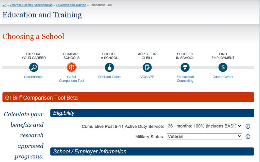 """The Department of Veterans Affairs has <a href=""""http://department-of-veterans-affairs.github.io/gi-bill-comparison-tool/"""" target=_blank>launched a new tool to help servicemembers</a>, veterans and their families calculate Post-9/11 GI Bill benefits and compare schools and training programs nationwide."""