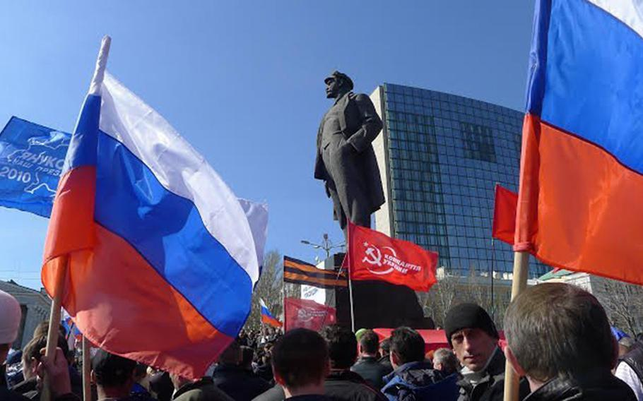 Russia's annexation of Crimea, made official on March 21, 2014, has not ended agitation for closer ties to Russia in other parts of Ukraine. On Saturday, March 22, 2014, about 5,000 people staged a rally in Donetsk, a major city in east Ukraine, to advocate closer ties for the region with Russia, and not the European Union.