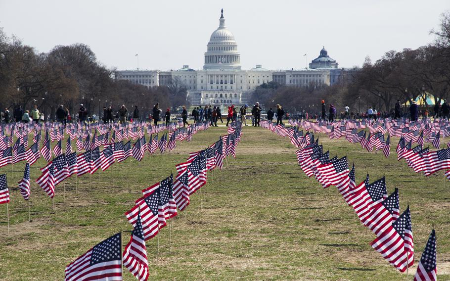 Members of the Iraq and Afghanistan Veterans of America (IAVA) planted 1,892 flags on the National Mall in Washington, D.C., on March. 27, 2014. The flags represented the number of veterans and servicemembers estimated to have committed suicide until that day in 2014.