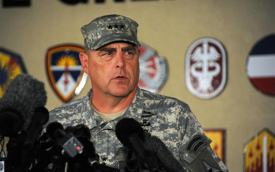 Lt. Gen. Mark Milley updates media representatives on Wednesday, April 2, 2014, on the Fort Hood shooting incident that took place earlier in the day.