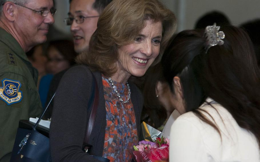 U.S. Ambassador to Japan Caroline Kennedy interacts with members of the Yokota Air Base, Japan community at the Yokota AB Enlisted Club on April 4, 2014.