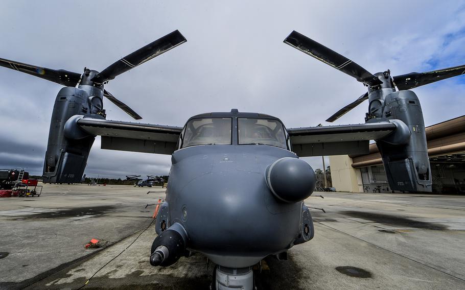 A CV-22 Osprey is parked on the flightline on Hurlburt Field, Fla., March 6, 2014.