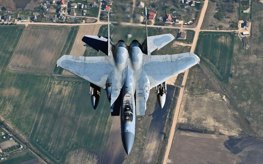 NATO's Baltic Air Policing mission currently consists of four U.S. Air Force F-15s, which were beefed up by an additional six fighters after the outbreak of the crisis in Ukraine.