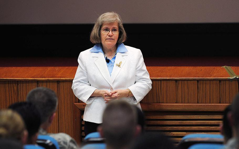 Holly Petraeus, head of the Office of Service Member Affairs at the Consumer Financial Protection Bureau, counsels Airmen on finances May 13, 2014, at Incirlik Air Base, Turkey.