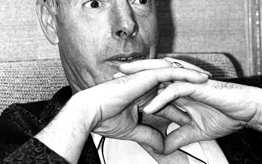 Joe DiMaggio is interviewed in Tokyo in 1966.