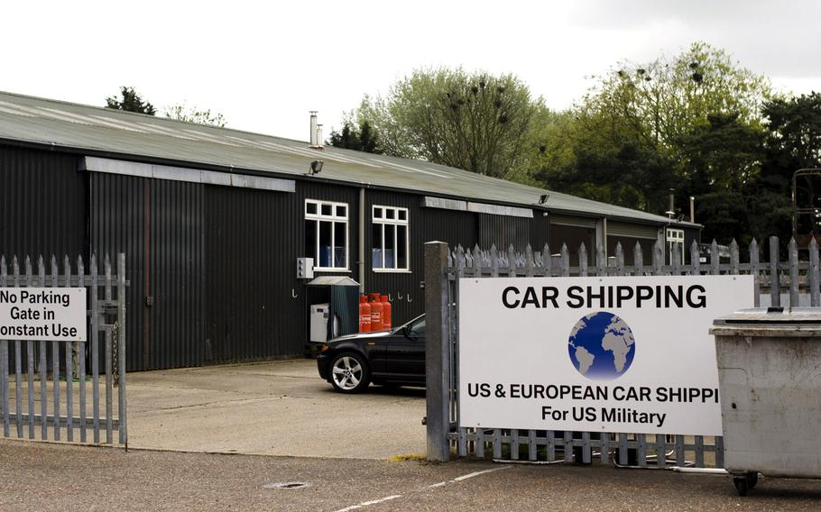 International Auto Logistics opened new vehicle processing centers, like this one in Mildenhall, England, when it took over the contract in May to ship servicemembers' vehicles. The company has faced criticism for late deliveries and not being able to provide accurate information about the location of vehicles.
