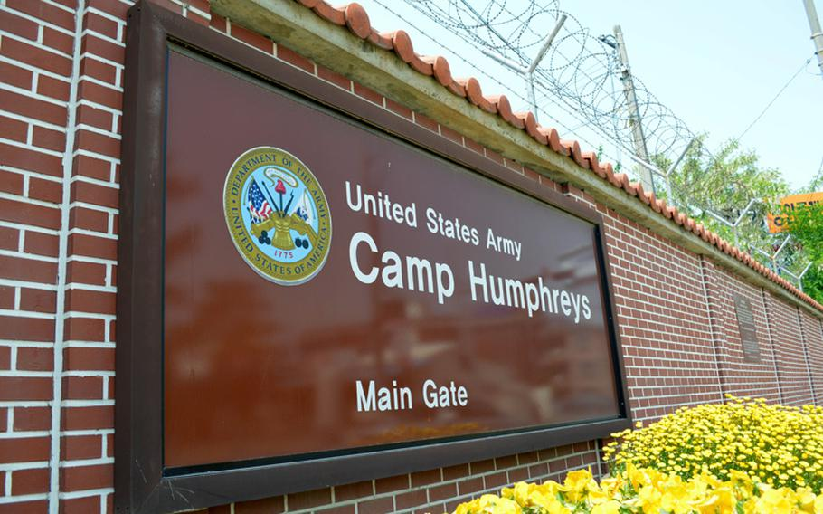 The main gate entrance sign for Camp Humphreys, South Korea, is shown in this 2014 file photo.