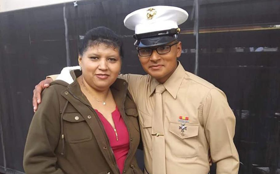 """Lance Cpl. David Lee Espinoza, 20, of Rio Bravo, Texas, shown here in an undated photo from social media, """"embodied the values of America: grit, dedication, service, and valor,"""" said Rep. Henry Cuellar, R-Texas."""