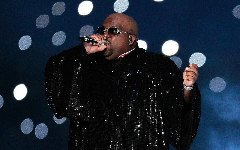 Cee Lo Green performs during the halftime show of Superbowl XLVI on Feb. 5, 2012, at Lucas Oil Stadium in Indianapolis.