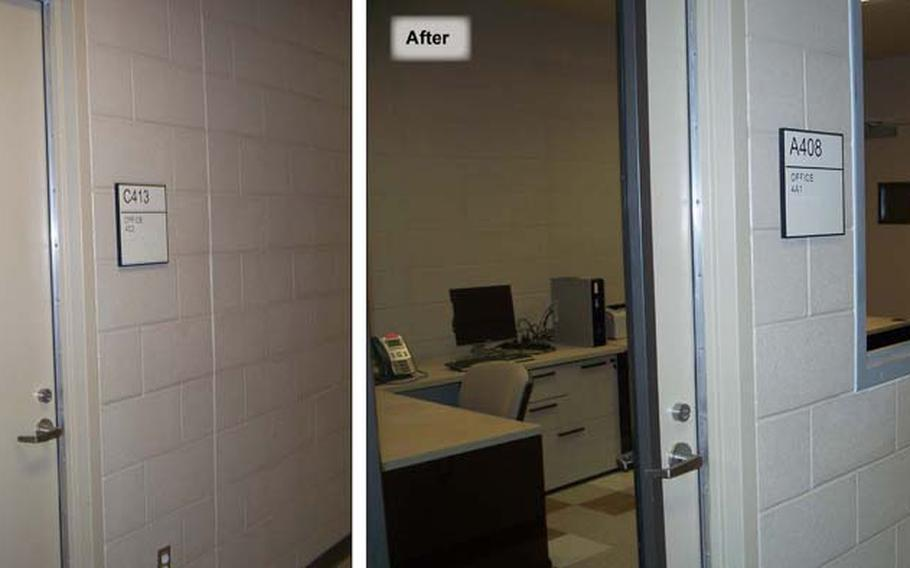 In this undated photo provided by the Government Accountability Office, an instructor's office at Lackland Air Force Base in Texas has been remodeled to include windows and glass doors as part of changes implemented to reduce sexual misconduct during basic training.