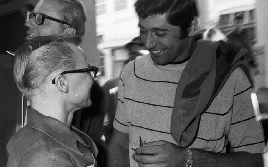 Joe Namath talks with soldiers at the U.S. Army Hospital on Camp Oji, Japan, in January, 1969.