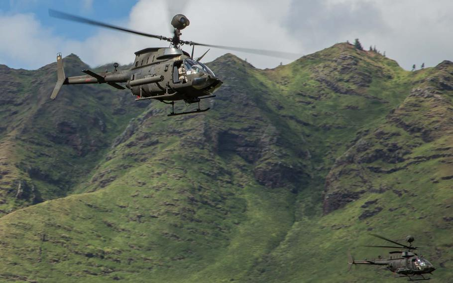 Aviators with the 25th Combat Aviation Brigade, 25th Infantry Division, conduct a training exercise in Hawaii on Nov. 26, 2014, in preparation for an operational deployment to the Republic of Korea.