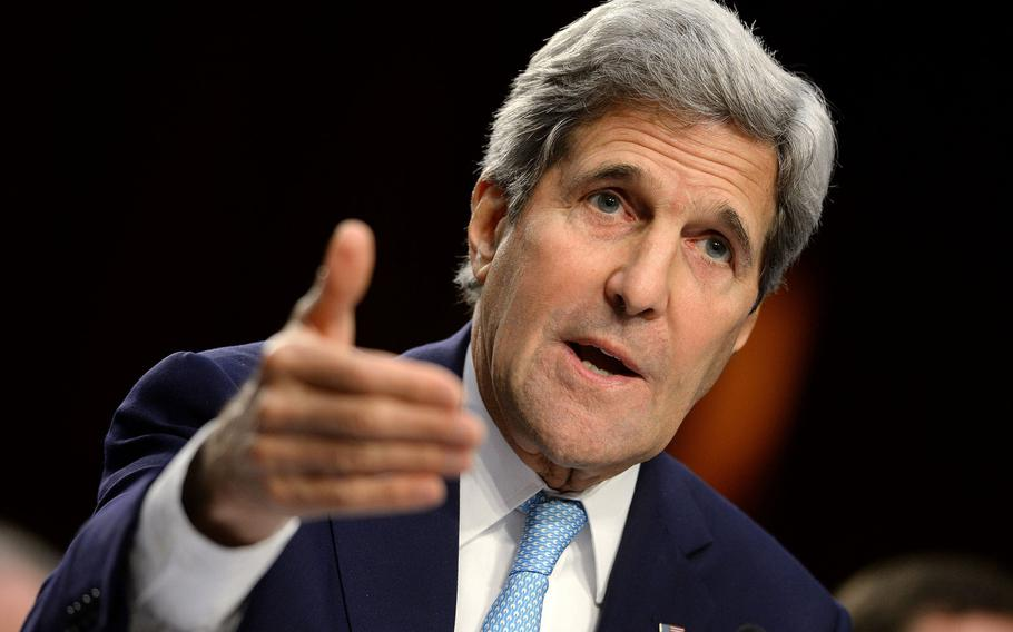 Secretary of State John Kerry testifies at a Senate Foreign Relations Committee hearing on the United States strategy to defeat the Islamic State on Wednesday, Sept. 17, 2014, in Washington, D.C.