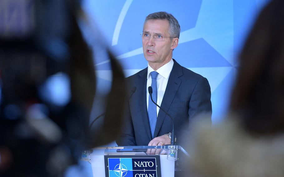 NATO Secretary General Jens Stoltenberg meets the press following the meeting of the NATO-Ukraine Commission on Jan. 26, 2015.