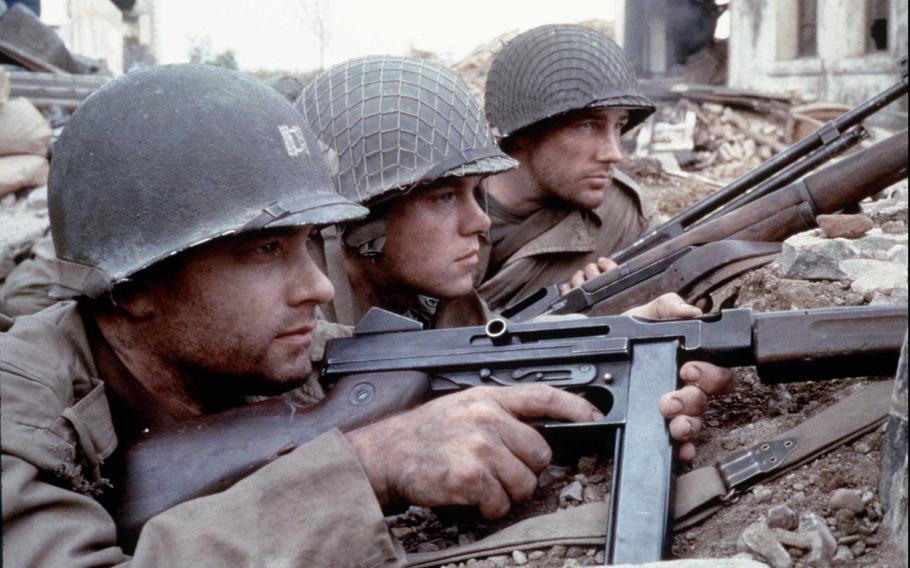 """From left, Tom Hanks as Captain Miller, Matt Damon as Private Ryan and Edward Burns as Private Reiben are seen in a scene from DreamWorks Pictures' and Paramount Pictures' """"Saving Private Ryan."""""""