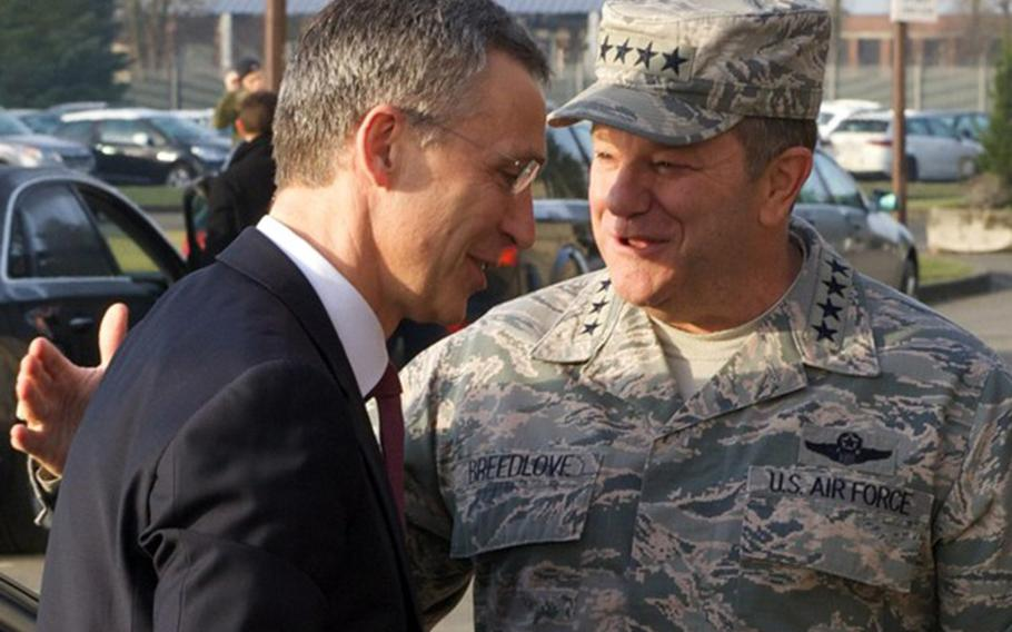 Supreme Allied Commander Europe, General Philip Breedlove welcomes NATO Secretary General Jens Stoltenberg at the Headquarters of Allied Command Operations