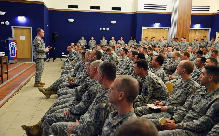 Lt. Gen. Ben Hodges, commander of U.S. Army Europe, speaks to paratroopers assigned to the 173rd Airborne Brigade Feb. 24, 2015, about their role in Europe and the NATO alliance at Vicenza, Italy. The 173rd Airborne is the Army contingency response force in Europe and maintains close relationships with allies and partners through exercises and events across Europe.