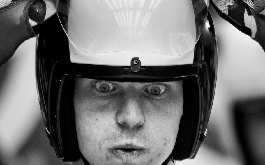 """Sascha Fromm, """"Olympic Faces 01""""   Italy's Ludwig Rieder prepares for the training run during the Men's Luge Doubles of the Sochi 2014 Winter Olympics at Sanki Sliding Center on Feb. 11, 2014, in Sochi, Russia."""