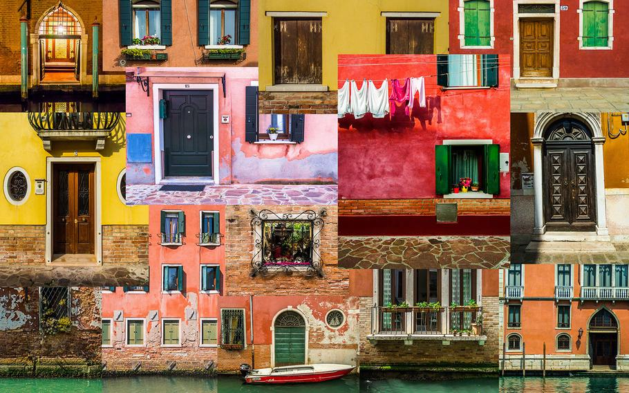 """Farid Sani, """"Faces 02""""   This series is comparing faces and colors of four different cities which is describing culture of the people are living there. Each Image is a puzzle from different doors in each city. First Image : Venice Second : Tehran Third : Spandau Forth : Berlin"""