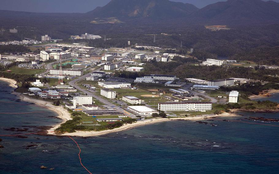 An aerial view of Camp Schwab, Okinawa. The governor of Okinawa has ordered a Defense Ministry branch to suspend all work at the site where a key U.S. military air base is to be relocated.