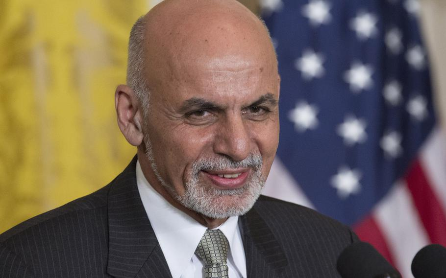 President Ashraf Ghani of Afghanistan listens during a press conference at the White House, Mar. 24, 2015.