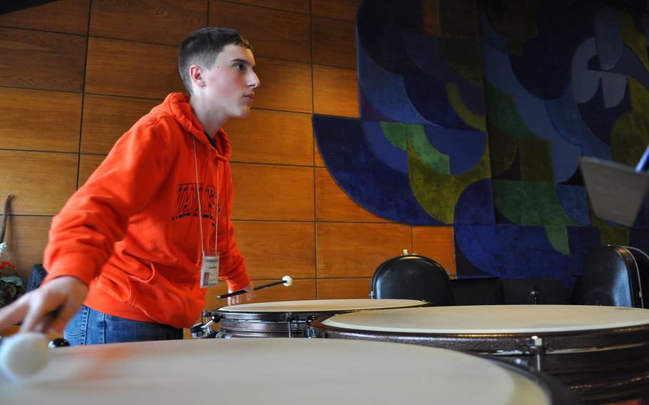Jonathan Ciero of Ramstein plays the timpani on Tuesday, March 24, 2015, during the annual DODDS-Europe Honors Music Festival in Oberwesel, Germany.