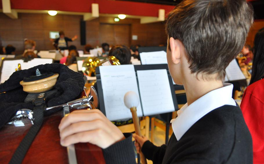 Percussionist Malcolm Watts of Menwith Hill gets some playing time Tuesday, March 24, 2015, at the annual DODDS-Europe Honors Music Festival in Oberwesel, Germany.