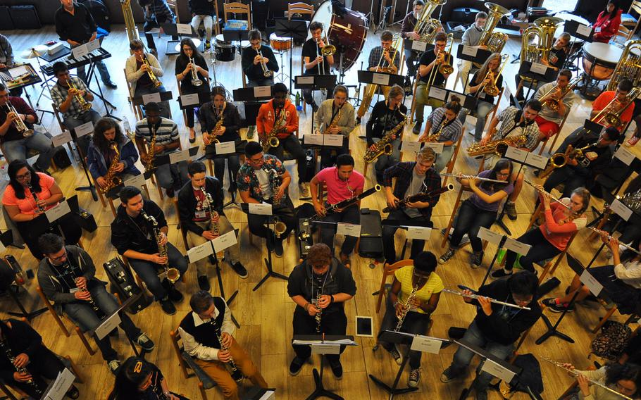 A bird's-eye view of band rehearsal Tuesday, March 24, 2015, at the annual DODDS-Europe Honors Music Festival. The event draws the best vocalists and instrumentalists from across schools in Europe for several days of intense rehearsals, culminating in a public performance Thursday night in Wiesbaden.