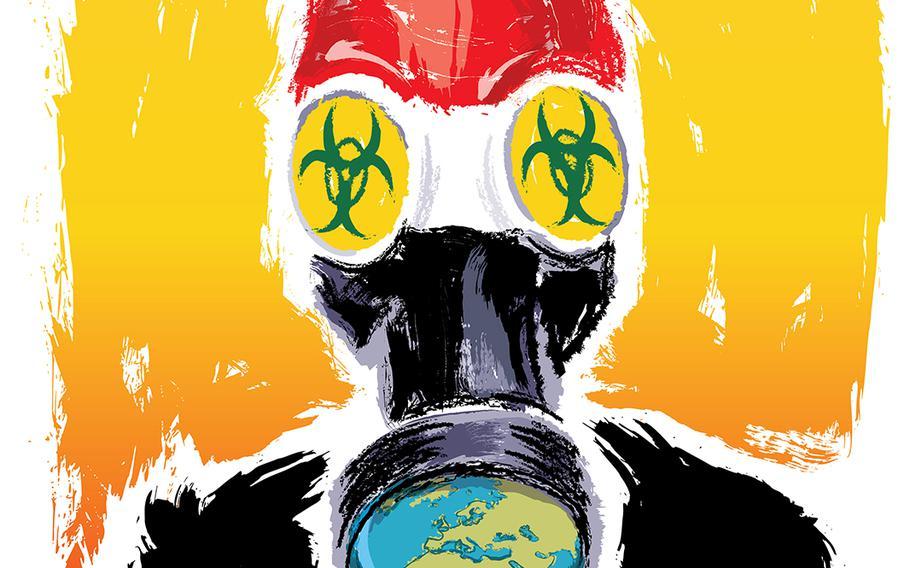 Illustration depicting chemical warfare gear.
