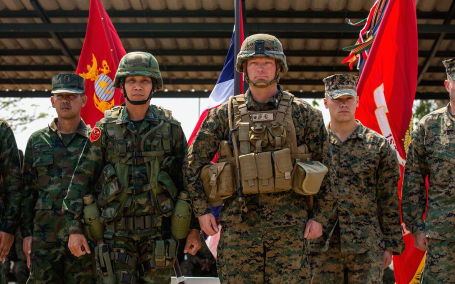 Royal Thai and U.S. Marines hold an opening ceremony for Cobra Gold 15 exercises in Ban Chan Khrem, Thailand, on Feb. 9, 2015.
