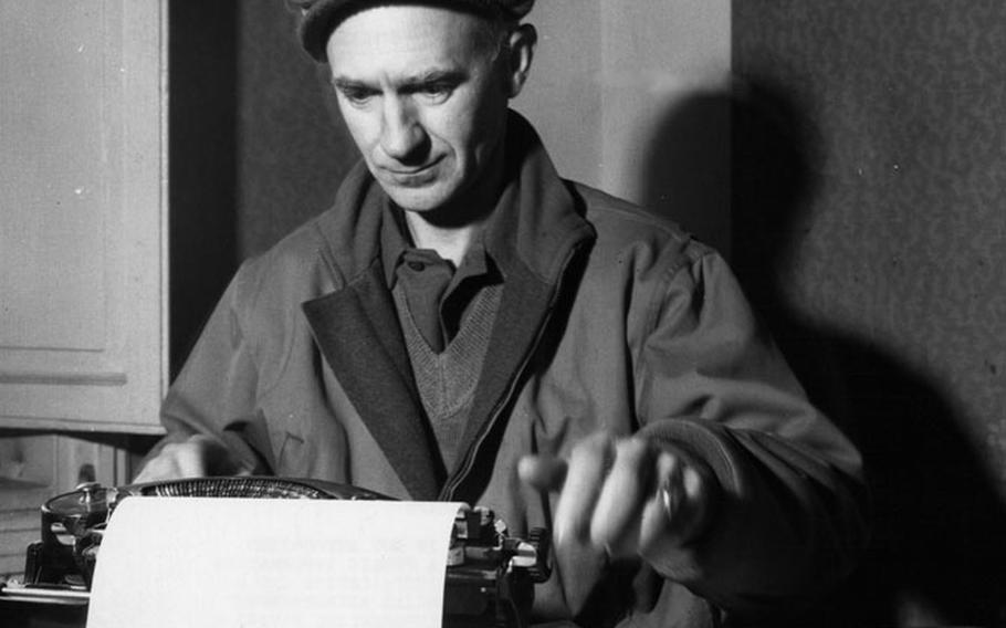 Ernie Pyle sits at his typewriter in this undated photo from World War II.